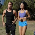 Adriana is out running four miles with her trainer Chad. At the three mile mark Adriana complains th