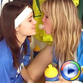 Two hot lesbian teenagers use a vibrator on each other