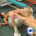 Two cute teenies getting very horny during their workout
