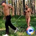 Trainer exercises a naked gymnast in outdoor jogging
