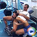 Sporty brunette teenage sweetie gets stuffed in the gym